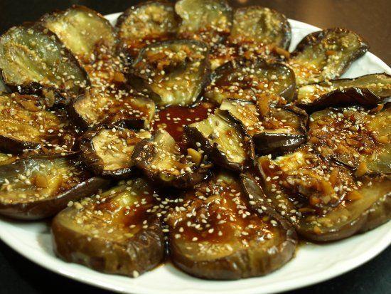 Berenjenas asadas con salsa de soja