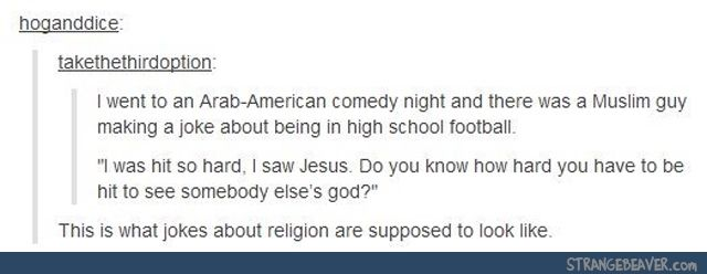 THIS is what an appropriate joke about religion looks like