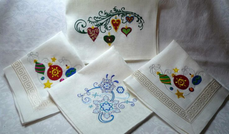 (7) Gallery.ru / Льняные салфетки с вышивкой - Подарки для дома - master-leto