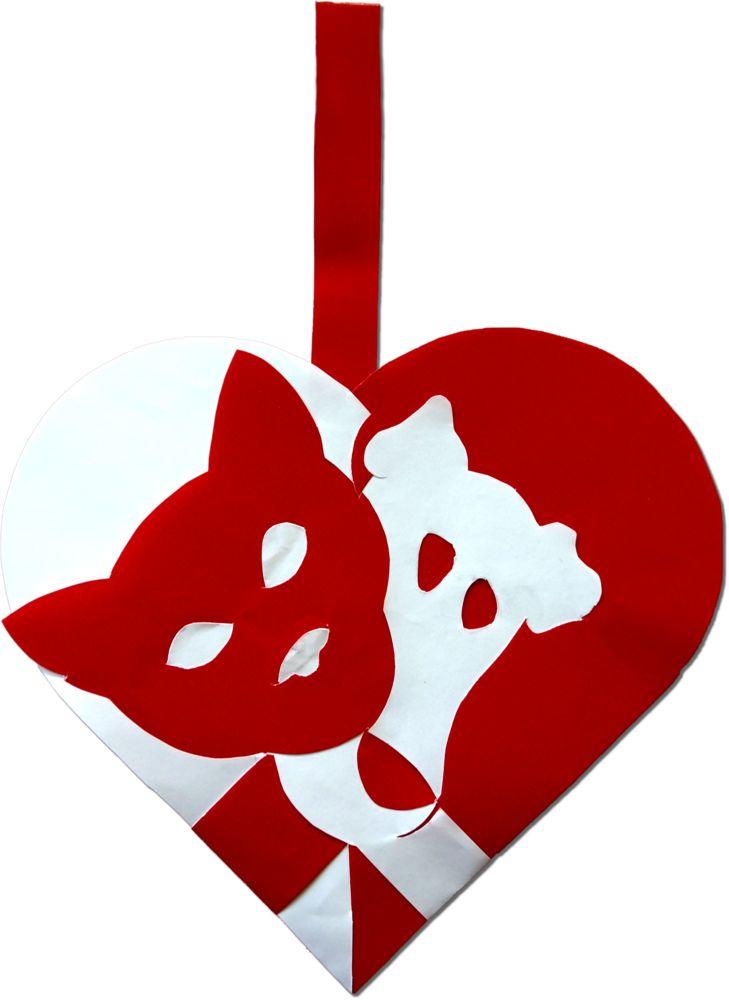 Hund og Kat Imellem :http://julehjertedesign.dk/hund-og-kat-julehjerte/ Et julehjerte for dyre-elskerne! #julehjerte #julepynt #juleflet #christmas #paperart #craft