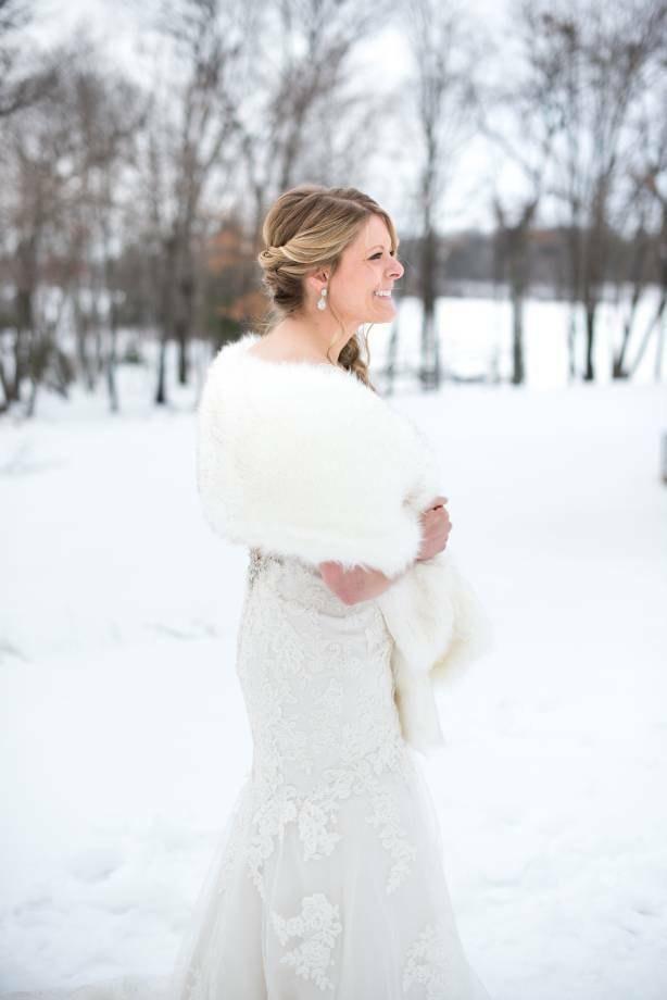 Ivory With Black Wedding Bridal Fur Stole Wrap Shawl Cape Lilian