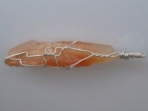 The last 6 hours of the giveaway! Tangerine calcite pendant wire wrapped in sterling silver