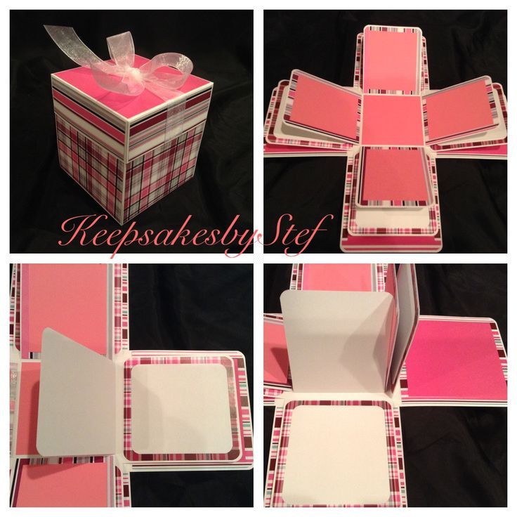 Plaid Stripes Exploding Box Pink - Photo album box, Explosion box, Gift ideas for him or her by Keepsakesbystef on Etsy