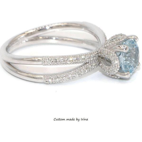 Disney Princess Cinderella Ring, Aquamarine Engagement ring, Diamond... ($1,750) ❤ liked on Polyvore featuring jewelry, rings, round diamond ring, aquamarine engagement rings, 14k wedding ring, aquamarine rings and white diamond ring