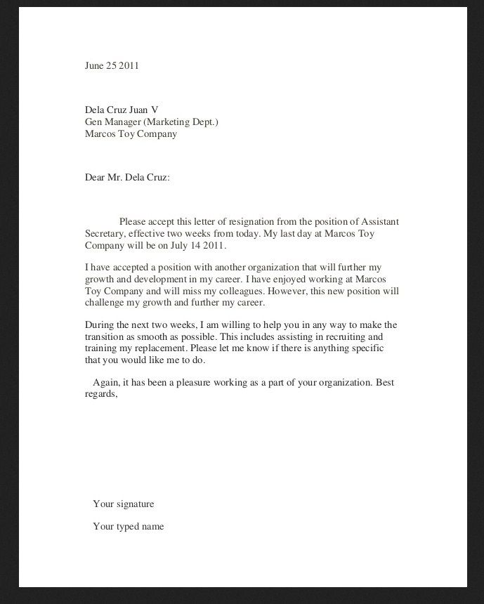 Resignationletter Resignation Letter With One Month Notice In Pdf