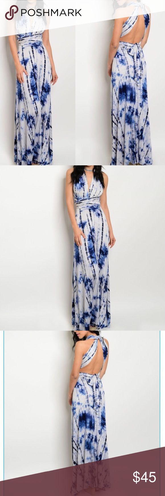 BLUE TIE DYE CONVERTIBLE MULTI-WAY MAXI DRESS-NEW 💙NAVY BLUE AND WHITE TIE-DYE JERSEY CONVERTIBLE OR MUTI-WAY WEAR MAXI DRESS. CONVERTIBLE DRESSES ARE ALL THE RAGE! YOU CAN STYLE THIS CONVERTIBLE TOP DRESS IN SO MANY WAYS. SEVERAL DRESSES IN ONE. IT IS ELEGANT, CLASSY AND SEXY. CAN BE WORN AS A CASUAL DRESS, FORMAL DRESS, RESORT WEAR DRESS, CRUISE DRESS OR FOR ANY OCCASION. GOES GREAT WITH THE SILICONE BRA IN OUR CLOSET. 95% RAYON, 5% SPANDEX. MADE IN THE USA AND AVAILABLE IN S-M-L…