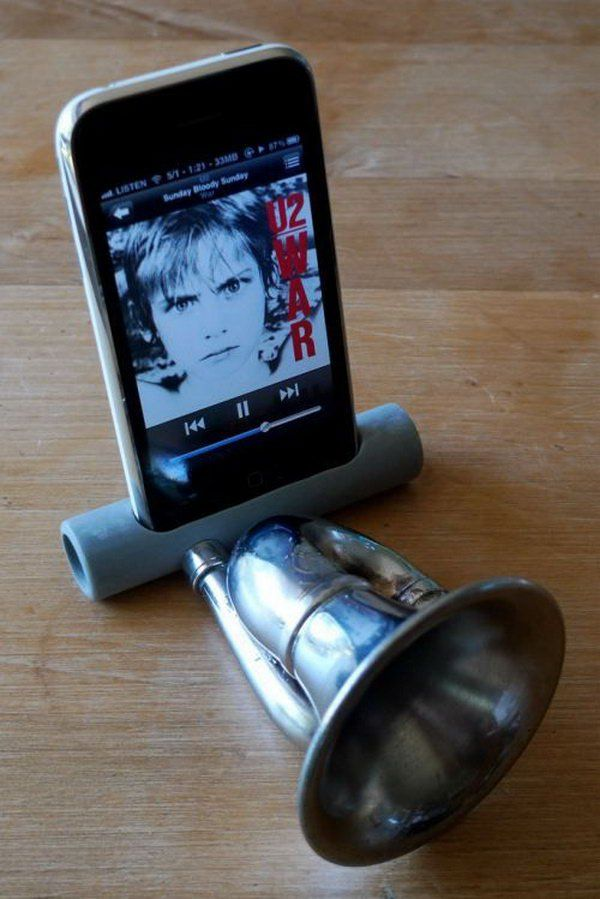 iPhone Speaker made out of PVC and an Old Bike Horn: To make one is very easy if you have an old bike horn. You'd be surprised how much sound you get from this little guy, which makes it the perfect noise machine for your iPhone.