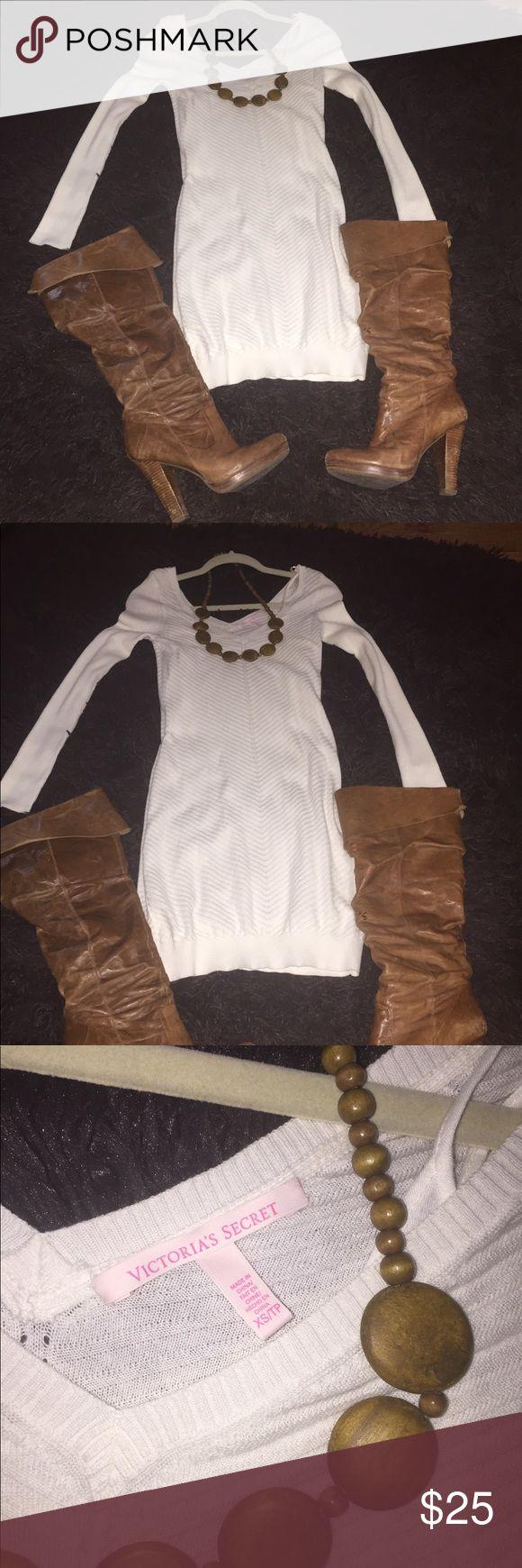 Price Drop! Victoria Secret cream sweater dress VS cream sweater dress. Has detachable thin cotton slip. Never worn. victoria secret Dresses Mini