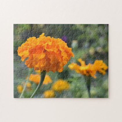 Marigold Orange Flower Nature Photography Garden Jigsaw Puzzle - photography picture cyo special diy