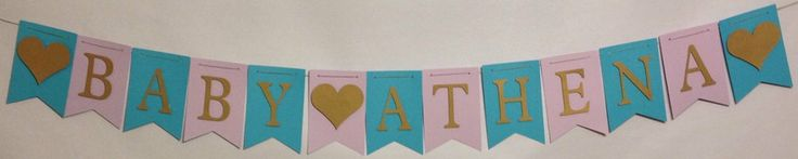 Baby Shower Banner Baby Name Banner Shower by FitchCraftCreations, $22.00