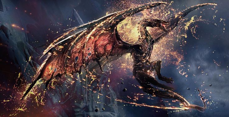 """Smaug the Golden. (Concept art by Gus Hunter, Weta Workshop) """"This is beautiful...the showers of molten gold glittering around the beautiful, terrifying dragon as he soars into the sky...wow."""" I love Desolation of Smaug so much, everything was so well done. Smaug was captured on-screen perfectly."""