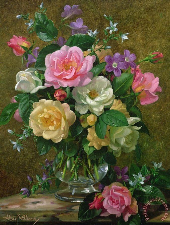 Albert roses in a glass vase