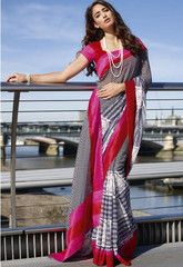 Buy #pink #grey and #black #colour #Georgette #saree #sari from #yellowfashion.in #Indiansaree #Fashion