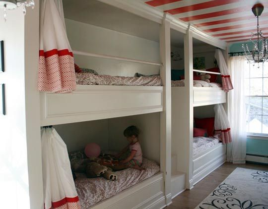 bunks: Idea, Bunk Beds, Bunk Rooms, Beaches Houses, 4 Kids, Girls Rooms, Stripes Ceilings, Kids Rooms, Built In Bunk