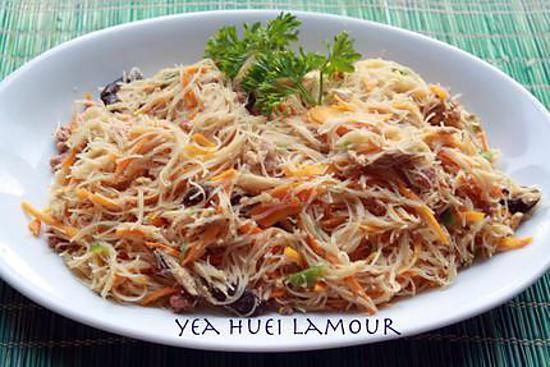 recette Vermicelles de riz sautées