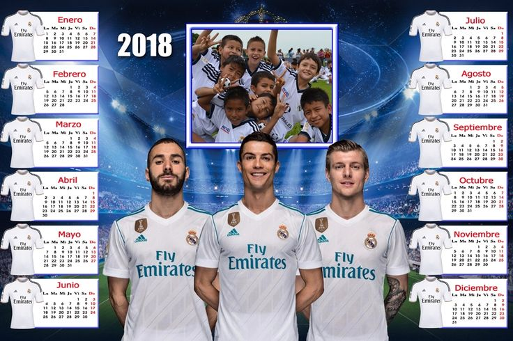 Calendarios para Photoshop: Calendario del 2018 del Real Madrid para Photoshop...