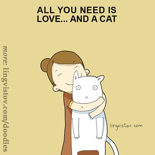 All you need is love... and a cat. 40 Funny Doodles For Cat Lovers and Your Cat Crazy Lady Friend grumpy tom talking nyan instagram pinterest facebook twitter comic pictures youtube