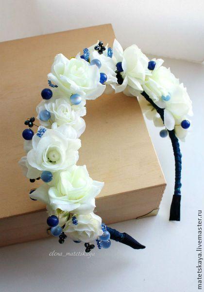 Цветочный ободок с белыми розами - белый,ободок с цветами,ободок для девочки