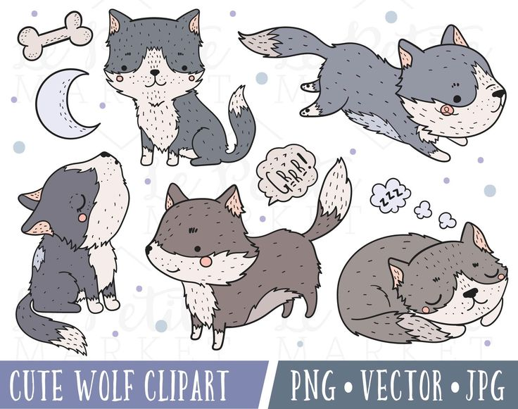 Cute Husky Clipart Images, Cute Wolf Clipart, Husky Clip Art, Malamute Clipart, Kawaii Dog Clipart, Kawaii Husky Clipart, Wolf Clip Art by LePetiteMarket on Etsy https://www.etsy.com/listing/542466272/cute-husky-clipart-images-cute-wolf