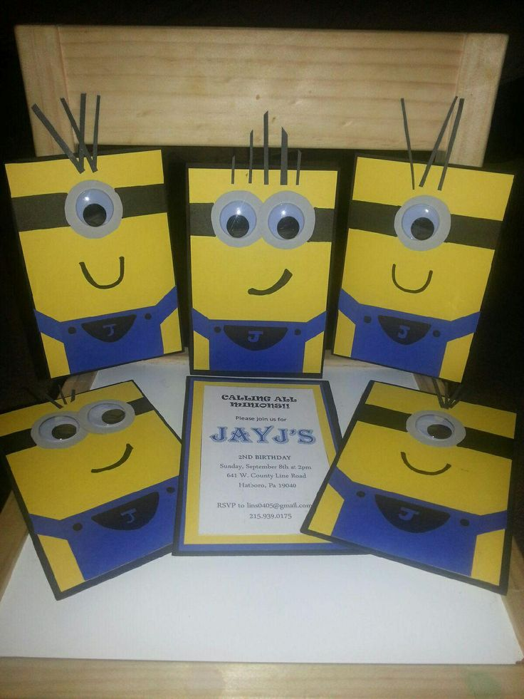DIY Minion Birthday Invitations for my nephews birthday! The one with the Mohawk represents him:)