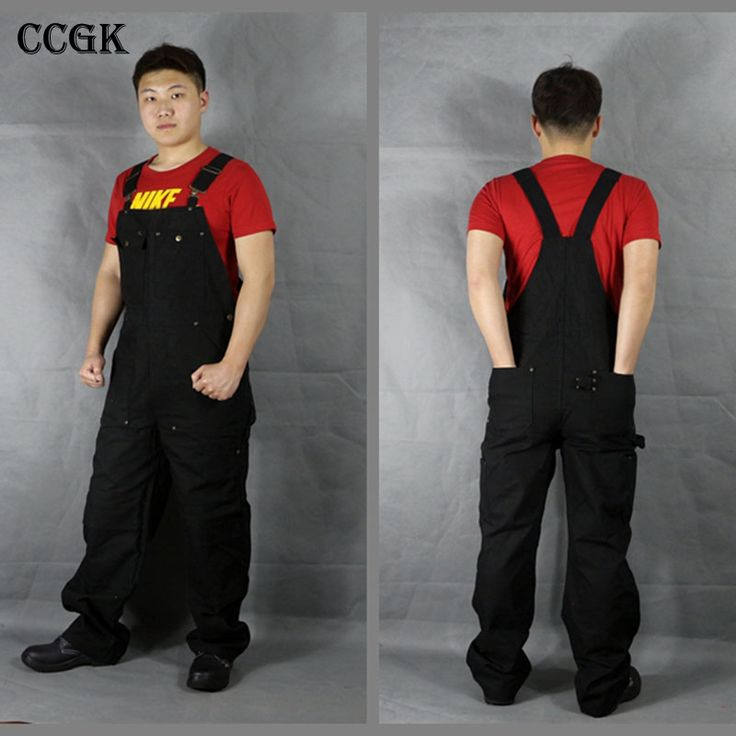 CCGK bib overalls men black work coveralls locomotive repairman strap jumpsuit pants work uniform sleeveless overalls big size