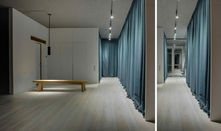 Loft : Cool Urban Loft in Kiev, Ukraine Designed by 2B Group - Urban Loft Hallway by 2B Group with Wood Bench Seat and Huge Blue Curtains and Unique Ceiling Lamps and Wood Flooring medium version