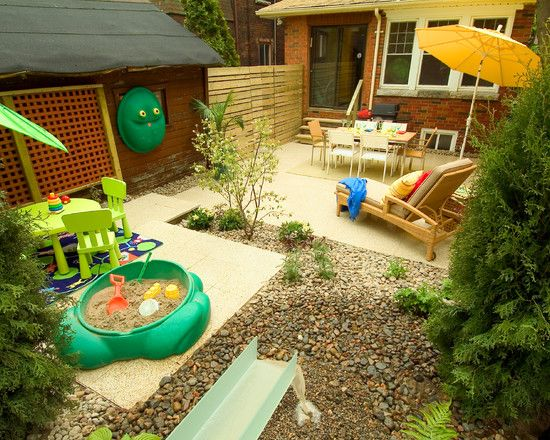 Awesome Backyard Landscaping Ideas for Kids, Looks Exciting To Play Here : Charming Backyard Landscaping Ideas For Kids In Cement And Coral Stone Flooring Combined Unique Chairs And Table White Sand With Toys Sofa Bed Feeling Exciting!