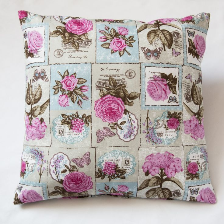 "Pink rose cotton  handmade cushion cover, made from 100% cotton, sage green cushion cover, 16"" cushion cover, decorative pillow"