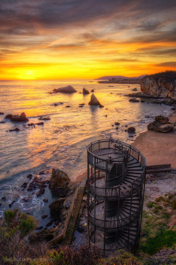 Staircase ruins in Pismo Beach, California.