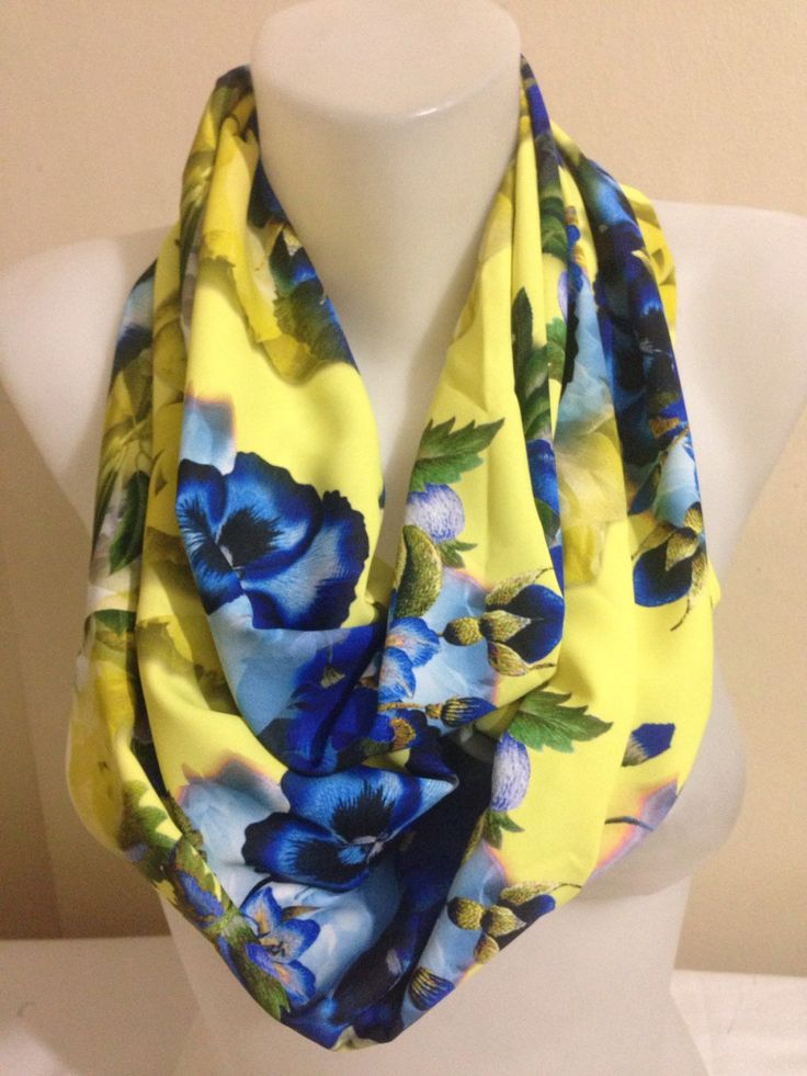 Floral Scarf in BlueInfinity ScarfFloral ScarfBlue ScarfYellow ScarfScarf For Her (14.90 USD) by Yellowcrochet