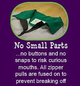 12 reasons why Peekaboo Beans is different from other kids clothing brands.  REASON #2 No small parts!