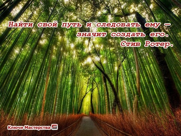 Найти свой путь и следовать ему - значит создать его. Стив Ротер