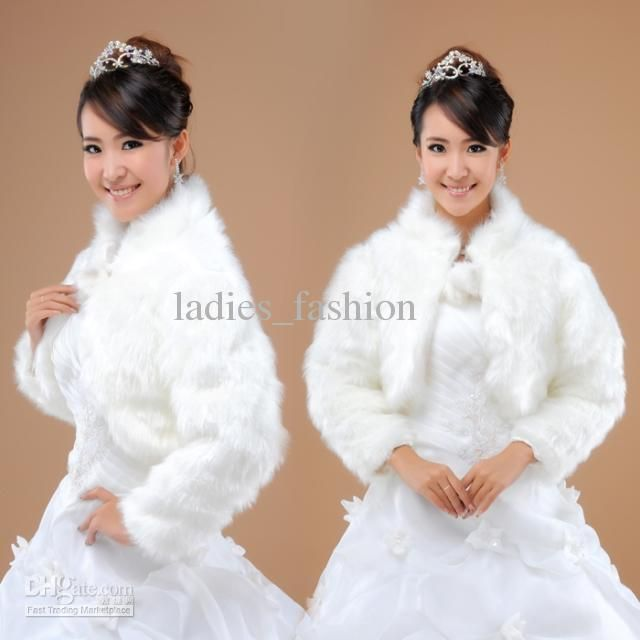 Wholesale Wedding Dress - Buy Elegant Ladies Fashion New Faux Fur Bridal Jacket Bolero Ivory Color With Long Sleeves High Neck Winter Tippet Cape Stole Coat In Stock Hot, $14.75 | DHgate