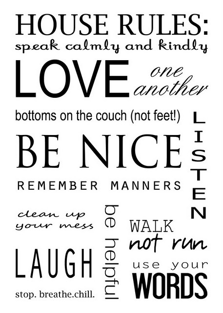 House Rules printable