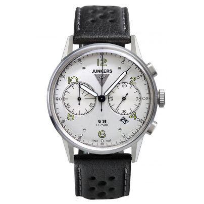 Herren-Chronograph von Junkers mit weichem Lederarmband.  https://www.uhrcenter.de/uhren/junkers/herrenuhren/junkers-g38-herren-chronograph-6984-4/