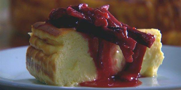 Warm Curd Cake with Honey Rhubarb