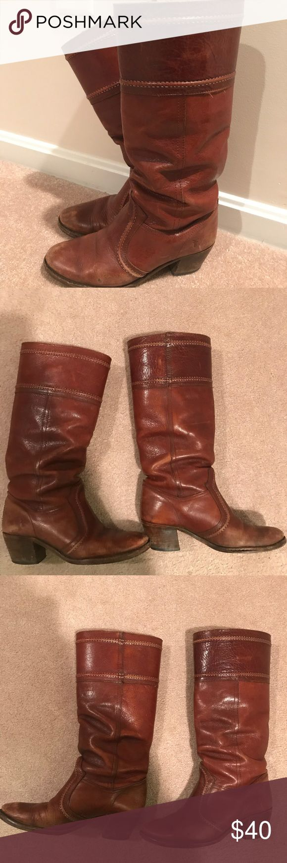 Frye Jane Boots Worn and loved authentic Jane Frye boots. Have had for years. Price reflects this! When wearing though the wear is not super evident. Cute with jeans and sweaters or dresses! Frye Shoes Heeled Boots