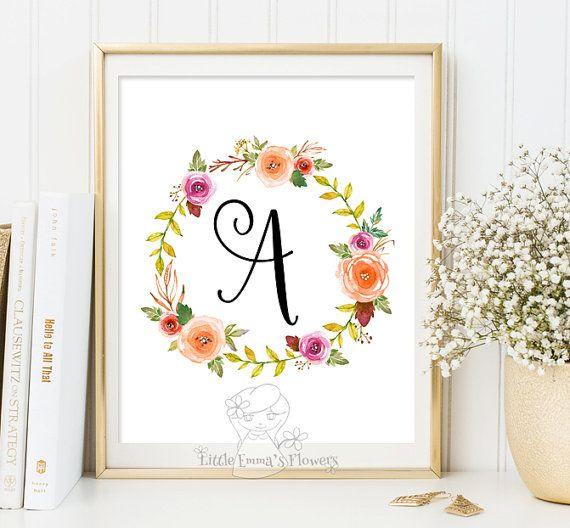 Printable flower nursery initialsNursery Letter Monogram Art calligraphy monogram nursery print nursery monogram floral monogram Initial 183