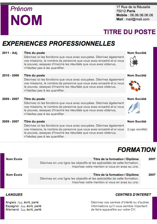 curriculum vitae design violet