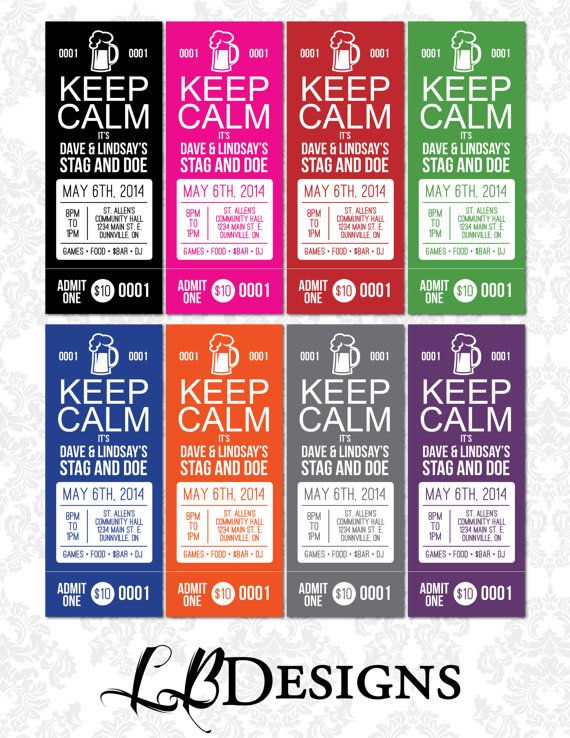 Stag and Doe Tickets  Keep Calm It's ..... by LindsayBrownDesigns