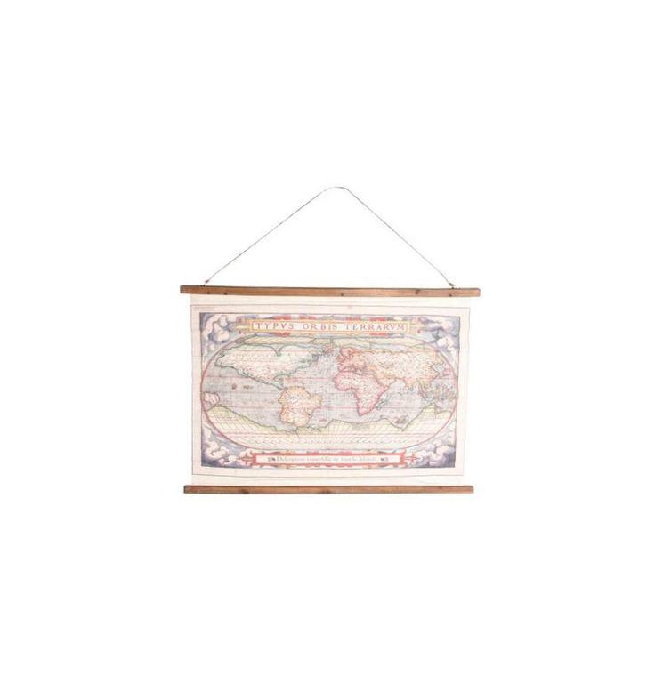 Cuadro lienzo lino estilo pergamino Mapa Mundi globo
