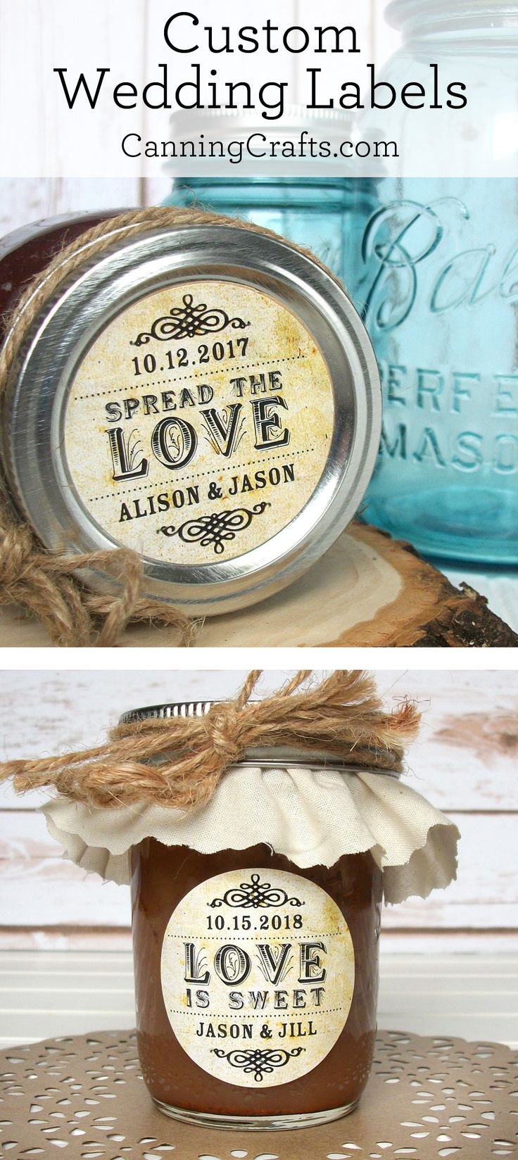 Custom vintage wedding favor labels, personalized Spread the Love jam jar labels, Love is Sweet, Meant to Bee stickers | CanningCrafts.com #bridalshowerfavors  #weddingfavors #weddinginspiration