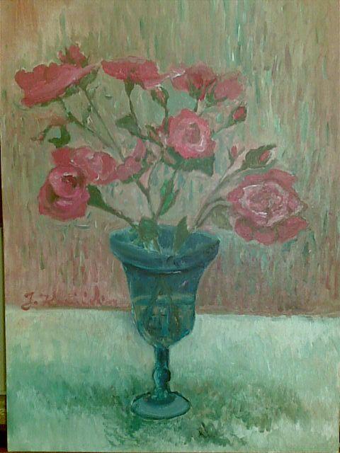 Kwiaty w wazonie - akryl na płótnie