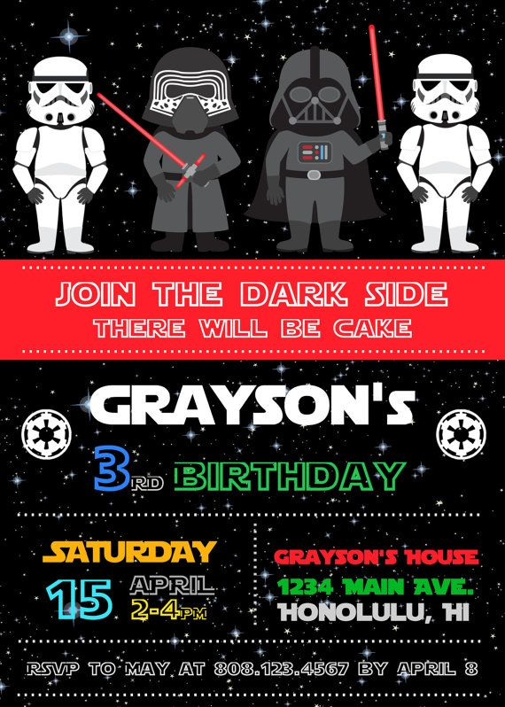 StarWars invitación fiesta de invitación por StrawberryPartyPrint