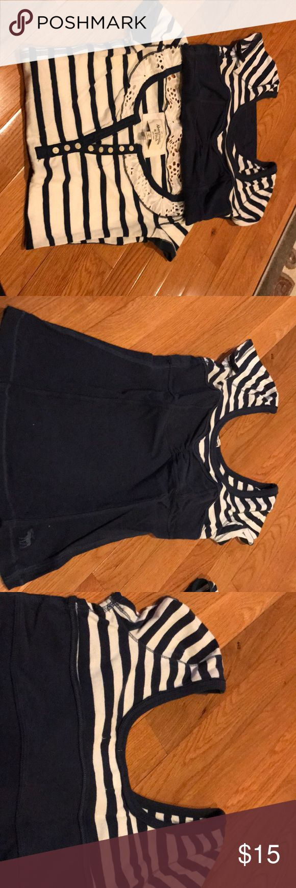 Selling bundle of two Abercrombie and fitch shirts Two navy and white Abercrombie and fitch tshirt material shirts. One is size xs and the other small both fit like a small Abercrombie & Fitch Tops Tees - Short Sleeve