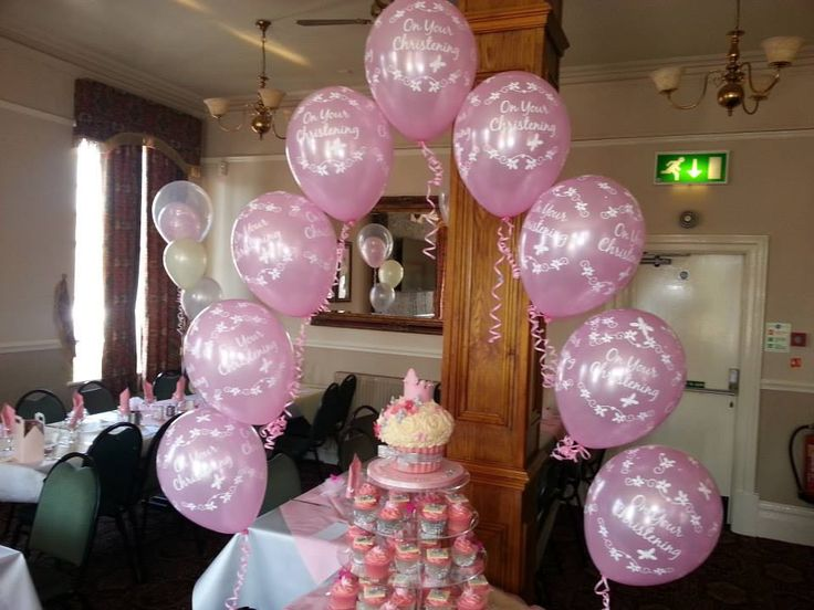 1000 images about balloons for baptism confirmation on for Balloon decoration ideas for christening