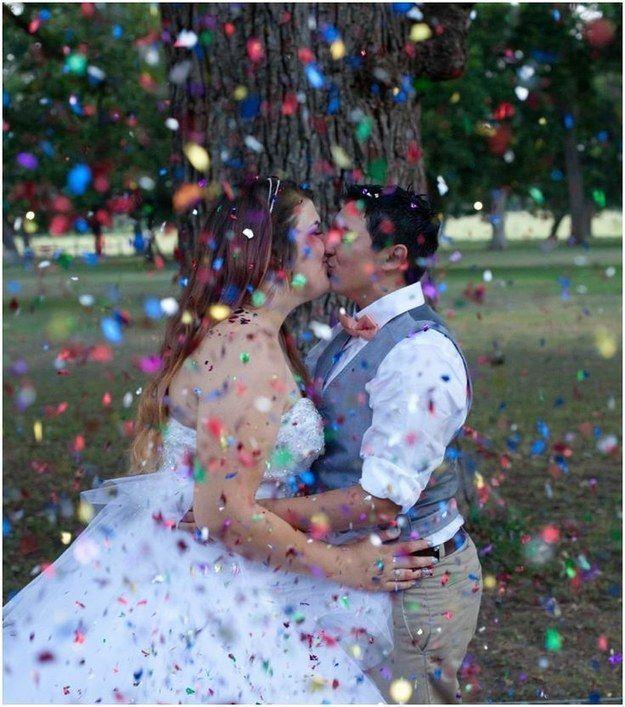 Rainbow confetti.
