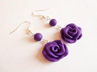 Kedy kreatív termékek: Lila rózsa fülbevaló