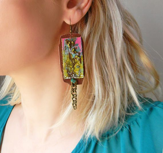 Hand painted long dangle earrings with paper and chain Paper