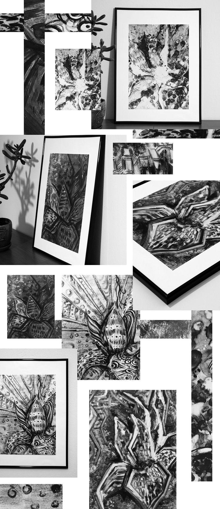 Серия иллюстраций на природную тему в технике монотипия  #graphic #bw #texture #графика #чб #пятно #линия #lines #pencil #art #monotype #монотипия